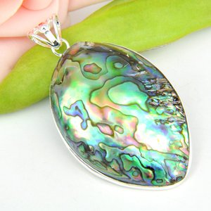 Venta al por mayor 3 Unids / lote Más Nuevo Natural Oval Abalone Shell Piedras Preciosas 925 Collares de Plata Colgante de Joyería Diaria