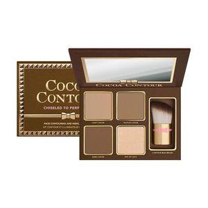 Hot Kit Contorno COCOA 4 Cores Bronzers Highlighters Paleta de Pó Cor Nua Shimmer Vara Cosméticos Sombra De Chocolate com Escova