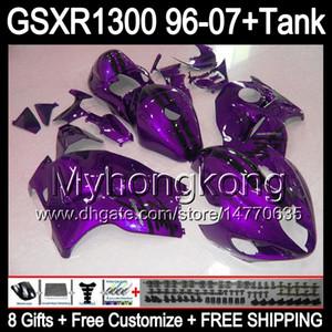 8Gift Für SUZUKI Hayabusa GSXR1300 96 97 98 99 00 01 lila 13MY136 GSXR 1300 GSX-R1300 GSX R1300 02 03 04 05 06 07 Verkleidung TOP glänzend schwarz