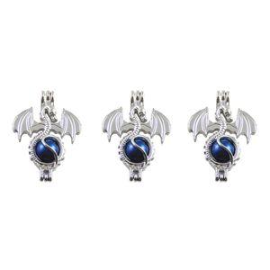 Pearl Cage Halskette Anhänger, ätherisches Öl Diffusor, Drache bietet versilbert 10 Stück - plus Ihre eigene Perle, Stein macht es attraktiver