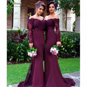 Vestidos de dama de honor de color borgoña sexy Sirena larga Aplique Crystal 2019 Vestidos de dama de honor baratos para bodas Tallas grandes