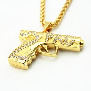 Nova Corrente de Ouro Hip Hop Longo Colar de Pingente de Moda Feminina 2 PAC Arma Forma Pingente Maxi Colar HIPHOP Jóias
