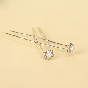 10Pcs Faux Pearl RHINESTONE Forcelle a forma di U Perni da sposa da sposa Prom Pins Flower Girl Pin Small Size Multi Color