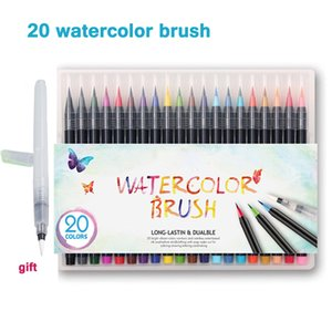 20 Color Premium Painting Soft Brush Pen Set Acuarela Arte Markers Pen Effect Mejor para Manga Sketch Drawing Comic Calligraphy