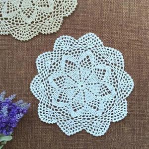 6 UNIDS Crochet Lace Doily 100% Algodón Redondo Hecho A Mano Beige Blanco Boda Pad Pad Decorativo Mantel Tabla Decoración 28 CM