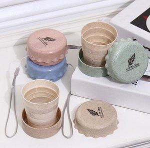 Creativo tazze pieghevoli Tappo di bottiglia Cup Design unico telescopico Outdoor portatile Colluttorio Cup Protezione ambientale Materiale Fibra di grano