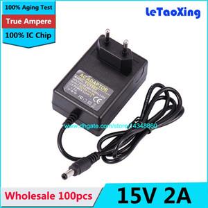 IC 칩을 가진 100pcs AC DC 전력 공급 15V 2A 접합기 30W 충전기 5.5mm x2.5mm EU 마개 무료 배송