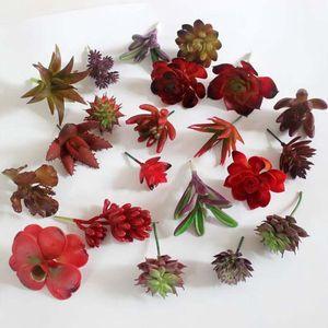 2017 novo Artificial Red Suculenta Planta Artificial Miniascape / Bonsai / Vasos de Varanda Em Casa Decoração Flor Decorativa frete grátis