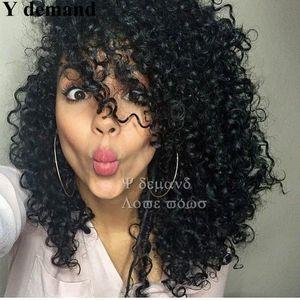 Siyah Kadınlar Için İnsan Saç Peruk gibi Perulu Afro Kinky PartyHair Ile Kıvırcık Yok Dantel Peruk Ücretsiz Kargo