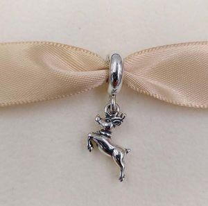Regalo del día de Navidad 925 granos de la plata pendiente del encanto del reno se adapta al estilo europeo joyería de Pandora collar de las pulseras 791194 invierno cuelgan