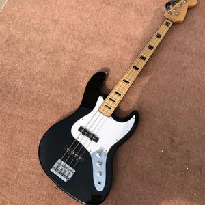 Sıcak satış Siyah renk Cusotm 4 dize bas gitar, Alder ahşap vücut, elektrik bas gitar özelleştirmek kabul, ücretsiz kargo