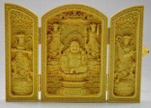 Collection Folk Art Vintage Rare Chinois Décorée Boxwood Haute difficulté Boîte à flodage sculptée à la main - Maitreya Bouddha