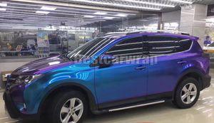 Mor mavi Inci Parlatıcısı Bukalemun Vinil Wrap Film Hava Kabarcığı Ile Ücretsiz Parlak Flip Flop Glitter İnci Araba Wrap Sticker 1.52 * 20 M / Rulo 5x67ft