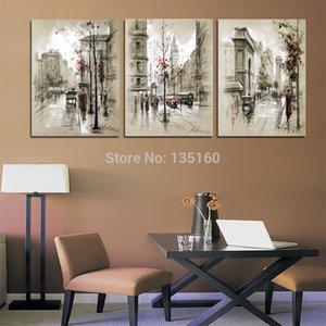 Abstract City Street Landscape, 3 PC Home Decor HD Stampato Pittura di arte moderna su tela (senza cornice / con cornice)
