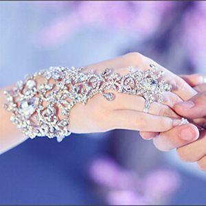 فاخرة أنيقة كريستال أحجار الراين الماس سوار الزفاف قفاز العرسان حفلة موسيقية مجوهرات الاسوره أساور الساخن بيع