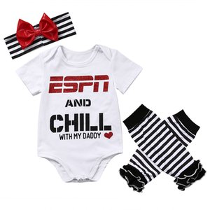 Wholesale- 3Pcs Xmas set Toddler Baby Girls Clothes letters long sleeve Romper Jumpsuit Playsuit striped Leg warmers+headwear Outfits Sets