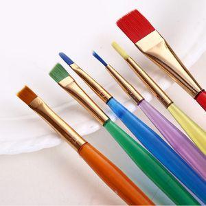 Atacado-6Pcs / set colorido pincel desenho canetas conjunto de ferramentas de pintura para a criatividade das crianças brinquedos para crianças brincam caneta pincel ferramenta de aprendizagem