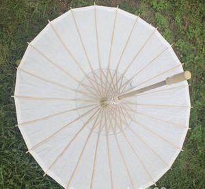 50pcs / lot nuovo Parasoli nuziali di carta da sposa del manico lungo di colore bianco di bambù ecologico DHL Fedex libera il trasporto