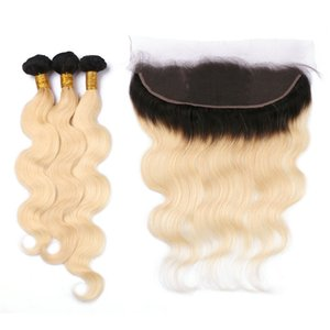 Wholesale T1B 613 Blonde Ombre Brazilian Human Virgin Hair Bundles 3Pcs With Body Wave Dark Roots Blonde Ombre Full Lace 13x4 Frontal