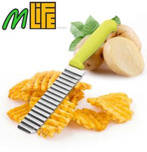 عالية الجودة تقطيع البطاطس تقطيع الفولاذ المقاوم للصدأ قطع أمواج البطاطس تغضن الشكل الخضروات رقائق اكسسوارات المطبخ سكين