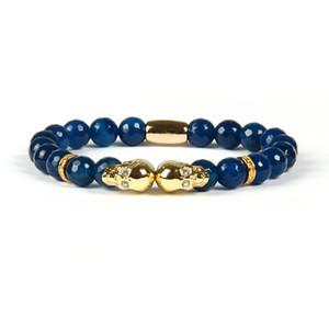 Мода ювелирные изделия Оптовая 8 мм граненый синий и черный агат камень микро проложить двойной череп бисером браслеты для мужчин