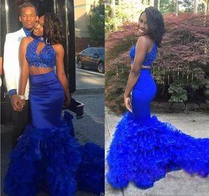 Kraliyet Mavi İki Adet Elbiseler Parti Akşam Aşınma Yüksek Boyun Boncuk Dantel Katmanlı Mermaid Balo Elbise Uzun Fermuar Geri Homecoming Elbise