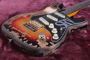Personalizzato Shop Ltd Masterbuilt SRV Stevie Ray Vaughan Heavy Relic St Tribute Guitar Electric Guitar Older Body Body Vintage Sunburst, Tremolo Bridge