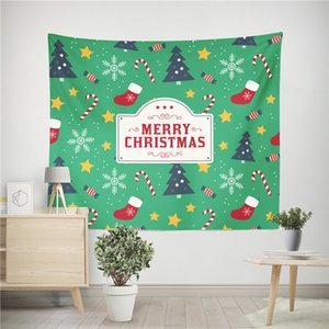 Frohe Weihnachten Tapisserie Teppiche Polyester Faser 150 * 200 cm Elch Schneemann Wand Hängen Tapisserien Xmas Party Tischdecke 96 Design Best