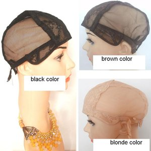 Gorras judías peluca para hacer pelucas pequeñas Medianas grandes X-Large tamaño Glueless gorras de encaje completo Marrón Negro Rubio Color 5pcs / Lot