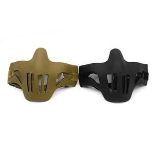 Taos mitad inferior cara metal malla de malla de acero caza táctica protectora máscara de airsoft para fiesta cosplay halloween envío gratis