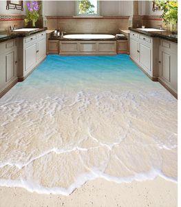Klassische Home Decor 3D Badezimmer Seaside Beach Bodenbelag wasserdichte Tapete für Badezimmerwand