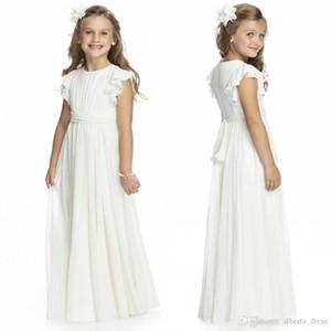 Ivory Chiffon Long Floor Length Flower Girls Dresses For Weddings 2017 A Line Short Sleeve Custom Made Cheap First Communion Gowns
