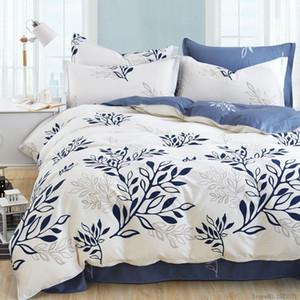 Venta al por mayor- Conjunto de ropa de cama con estampado de hojas de olivo azul juego de sábanas de tela escocesa de rayas colcha bohemia ropa de cama con estilo moderno funda de edredón