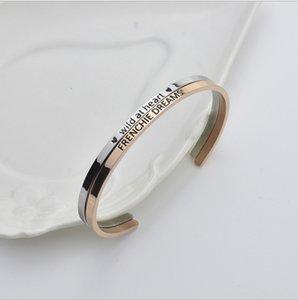 Popolare C - tipo aperto gioielli in acciaio di titanio braccialetto coppia maschile e femminile creativo doppio - braccialetto inciso