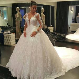 IIIusion Voltar Mangas Compridas Vestidos De Casamento 2016 Lace vestido de Baile Vestidos De Casamento robe de mariage Vestido de noiva sexy