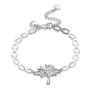 New Simple Design Silver Plated Brass Metal Tree Charm Chain Fashion Bracelet for Women Free Shipping