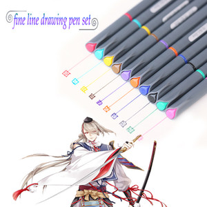 Rifornimenti d'arte 10 colori Pennello di alta qualità Micron Fine Line Drawing Pen Schizzo Penne Gancio Line mark Pen Penne Pittura Marker