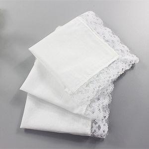 Presentes de casamento branco Lace Fino Mulher Handkerchief Partido Decoração de pano guardanapos Plain branco Lenço DIY 25 * 25 centímetros