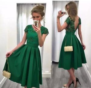 Koyu Yeşil Kokteyl Elbiseleri 2017 Backless A Hattı Aplikler Çay Boyu Parti Abiye V Geri Dantel Örgün Elbise
