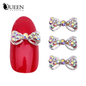 Wholesale-3d Alloy Rhinestone Bow Tie Nail Art Decorations,10pcs Crystal DIY Nail Glitter Accessories Jewelry,Nail Supplies
