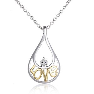6 pçs / set ouro oco out amor gota pingente de colar para a mulher cor mantendo alta qualidade melhor presente