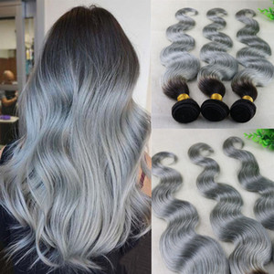Ombre Silver Grey Body Wave Hair teje extensiones de cabello humano brasileño Remy Paquetes de cabello 100 gramos por pieza