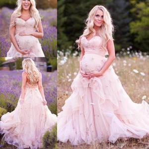 Enceinte Mère Porter Des Robes De Mariée Chérie Appliques Organza Plus La Taille Robes De Mariée Balayage Train Couches Nouvelle Mode Robe De Mariée Rose