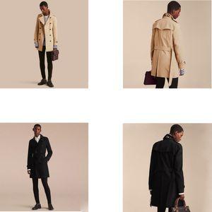Neuer Marken-Kleidung klassischer Art- und Weisebeiläufiger Geschäfts-Männer Trenchcoat Zweireiher langer Erbsenmantel Trenchcoat Mens-dünne Passform