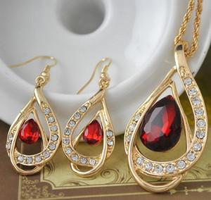 Kristal Bırak kolye Moda Seti DHL 18 K Altın Kaplama Kadınlar Wedding Rhinestone Moda Takı Kolye Küpe Takı Tasarımları