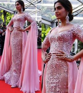 Sonam Kapoor Elie Saab Overskirt Abiye 2017 Pembe Aplike Örgün Parti Törenlerinde Fermuar Geri Kırmızı halı Ünlü Elbise gelinlik Modelleri