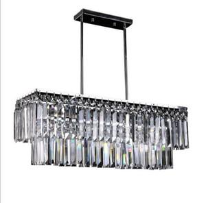 وصل جديد فاخر كريستال الثريات أدى e14 ضوء قاعدة المطبخ بريقا قلادة مصباح مستطيلة الكريستال مصباح الفولاذ المقاوم للصدأ LLFA