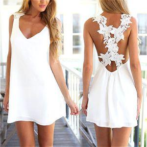 Wholesale- Summer sexy women White V Neck Crochet Lace Flower Chiffon Backless Dress Beach Short Mini Dresses