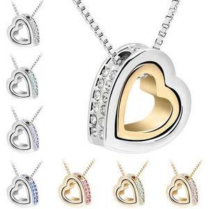 قلب كريستال القلائد المعلقات 18K الذهب والفضة مطلي مجوهرات الحلي قلادة المرأة الأزياء والمجوهرات بالجملة شحن مجاني