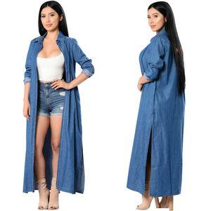 JessicaCHE 2020 Casual Denim sottile delle donne del cardigan Trench fessura del lato lungo del kimono camicetta Roll-up risvolto lungo mantello Jacket